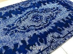 Old Antique Wool Handmade Oushak Turkish Blue Color Soft Vintage Modern Area Rug