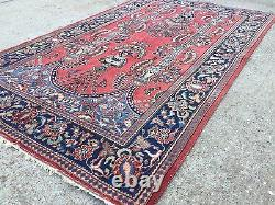 Old Persian Keshan Rug, wool shabby chic, country home Tribal Boho vintage 1930s