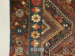 Old Tribal Kamseh Rug 190x135 cm Vintage Carpet Black, Navy, Red