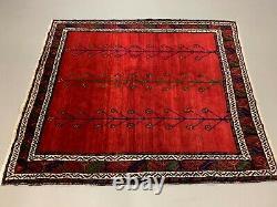 Old Tribal Zanjan Rug 180x160 cm Vintage Carpet Shabby Chic Red, Blue Square