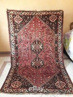 Old Vintage Carpet þersian Handmade Rug 8/5.2ft
