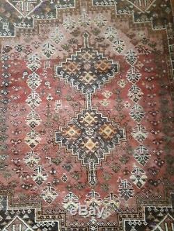 Old Vintage Handmade þersian Carpet Rug, 6.7/5.4 ft