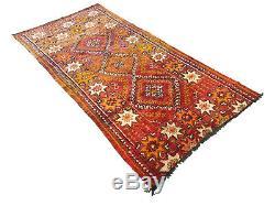 Old Vintage Moroccan Handmade Boujad Boujaad Rug Berber Wool Rug 11 ft X 5.7 ft