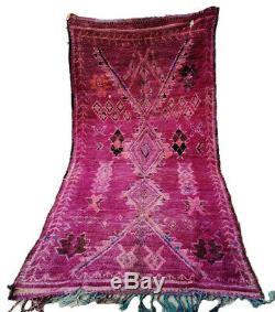 Old Vintage Moroccan Handmade Boujad Boujaad Rug Berber Wool Rug 8.4 ft X 4.1 ft