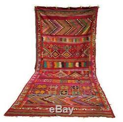 Old Vintage Moroccan Handmade Wool Kilim Rug Azilal Berber Carpet 410 x 200cm