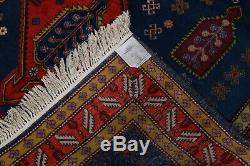 One-of-a-Kind Vintage Geometric Tribal Kazak Russian Oriental 7x10 Navy Area Rug
