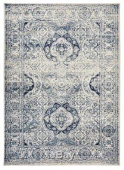 Oriental Vintage Persian Aubusson Navy & Ivory Area Rug 5' Round, 5'x7', 8'x10