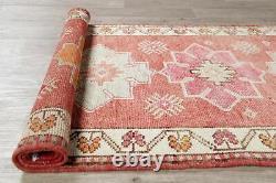 Oushak Oriental Runner Rug Geometric Vintage Handmade Wool 3 x 12 Turkish Carpet