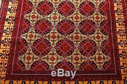 Persian Afghan Geometric Handmade 100% Wool Rug Red Rare Vintage 6'56x 4'86