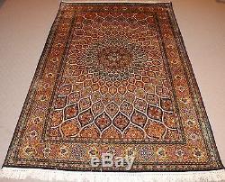 Persian Handmade Knotted Silk Rug Carpet, Antique Vintage Oriental Room Decor
