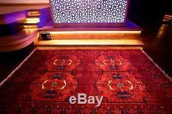 Persian Handmade Rug 100% Wool Geometric Red Rare Vintage Afghan 10'11 x 6'73