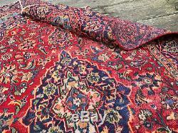 Persian Rug 4x7 Vintage Red + Blue Worn Rug #412