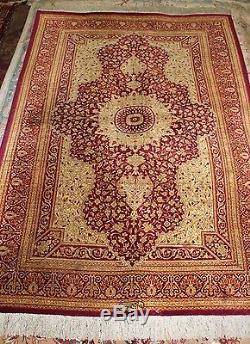 Persian Silk Qum Silk Rug Very Fine Vintage Persian Rug
