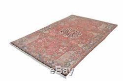 Persian Vintage Coral Pink Rug, Oriental Nahawan Persian 5' 1 X 7' 11 Handmade