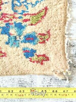 Pretty VINTAGE FLORAL shabby chic hand-knotted Persian oriental WOOL RUG IRAN