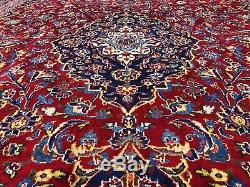 RED VINTAGE RUG HAND KNOTTED 10x13 WOOL ANTIQUE traditional handmade oriental