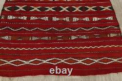 Rare Collectible Antique Geometric Red 4x5 Wool Sumak Kilim Oriental Rug