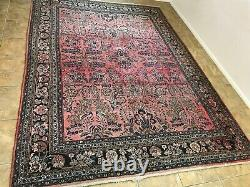 Rug #7 9 x12 Red Wool Hand Knotted Oriental Kapoutnang Vintage Handmade Carpet