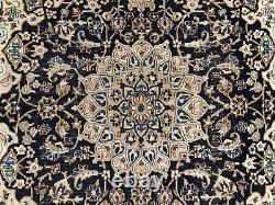 SQUARE ANTIQUE RUG 6x6 BLUE HAND KNOTTED WOOL oriental worn handwoven carpet 5x5