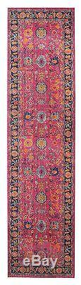 TALISH CHOBI PINK VINTAGE PERSIAN LOOK RUG RUNNER 80x400cm FREE DELIVERY