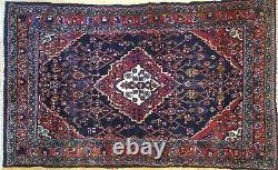 Terrific Tribal 1960s Vintage Oriental Rug Nomadic Carpet 3.7 x 5.11 ft