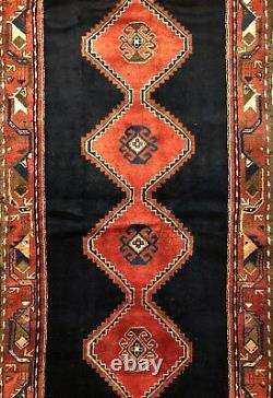 Terrific Tribal 1960s Vintage Oriental Rug Nomadic Runner 3.7 x 10.2 ft