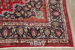 Traditional Vintage Hand-Knotted Floral Oriental Area Rug Red Wool Carpet 10x13