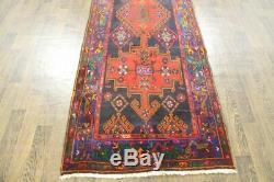 Traditional Vintage Persian Wool 3.3 X 9.6 Oriental Rug Handmade Carpet Rugs