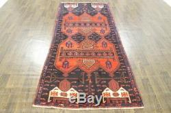 Traditional Vintage Persian Wool 3.7 X 8.4 Oriental Rug Handmade Carpet Rugs