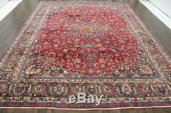 Traditional Vintage Persian Wool 9.2 X 12.1 Oriental Rug Handmade Carpet Rugs