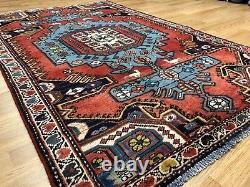 Tremendous Tribal 1940s Vintage Oriental Rug Nomadic Carpet 4.3 x 6.6 ft
