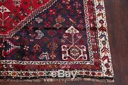 Tribal Geometric Abadeh Red Persian Vintage Hand-Knotted 6'x10' Wool Area Rug