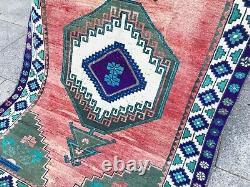 Tribal Vintage Oushak Turkish Colorful Rug Boho Rainbow Ottoman Unique Design