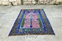 Turkish Vintage Rug Lowpile Rug Area Rug Oushak Floor Rug Handwoven Oushak Rug
