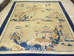 Unique blue and tan Art Deco antique Peking oriental rug from China