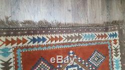VINTAGE 1970'S TURKISH Hand Made Rug Wool 1.3m x 1.2m very nice