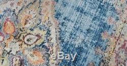 VINTAGE FADED Blue Oriental Persian Distressed Silk Like Rug floor carpet mat