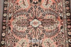 VINTAGE Floral 5' Runner CORAL Lilian Persian Hand-Knotted Wool Rug 4' 8 x 2' 5