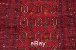 VINTAGE Geometric Balouch Afghan Oriental Area Rug Hand-Knotted RED Carpet 4x7