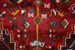 VINTAGE Geometric Kashkoli Qashqai TRIBAL Area Rug RED Hand-made Wool Carpet 6x9