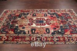 VINTAGE Geometric RARE Bakhtiari Area Rug Hand-Knotted Oriental Wool Carpet 5x10