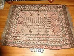 VINTAGE PERSIAN HAND MADE RUG BROWNS EARTH TONES approx 3' x 5' 39 x 56