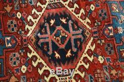 VINTAGE PERSIAN HERIZ KARAJA RUG With GEOMETRIC PATTERN, 3'5 x 4'5, heriz-merchant