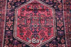 VINTAGE PINK and NAVY BLUE Hamedan Persian Oriental Hand-Knotted Tribal Rug 6x9