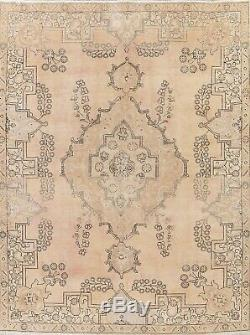 VINTAGE Persian Oriental Hand-Knotted MUTED 8x10 LIGHT PEACH Distressed Area Rug
