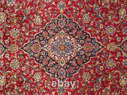 VINTAGE RED RUG 10x13 HAND-KNOTTED WOOL ANTIQUE ORIENTAL blue handmade 10x14 ft