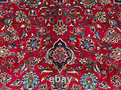 VINTAGE RED RUG HAND-KNOTTED WOOL ANTIQUE ORIENTAL big 10x13 blue handmade 10x14