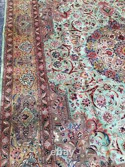 Vintage 10x14 Fine Persian Tab-riz Hand-Knotted Wool Rug Carpet
