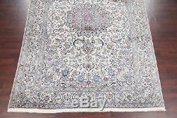 Vintage 10x14 Wool & Silk Floral Ivory Nain Isfahan Persian Oriental Area Rug