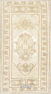 Vintage 2x3 MUTED Oushak Turkish Distressed Area Rug Oriental Hand-Knotted Wool